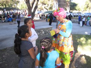 """Molly the Clown was there to add to the children's enjoyment at """"Christmas in the Park."""""""